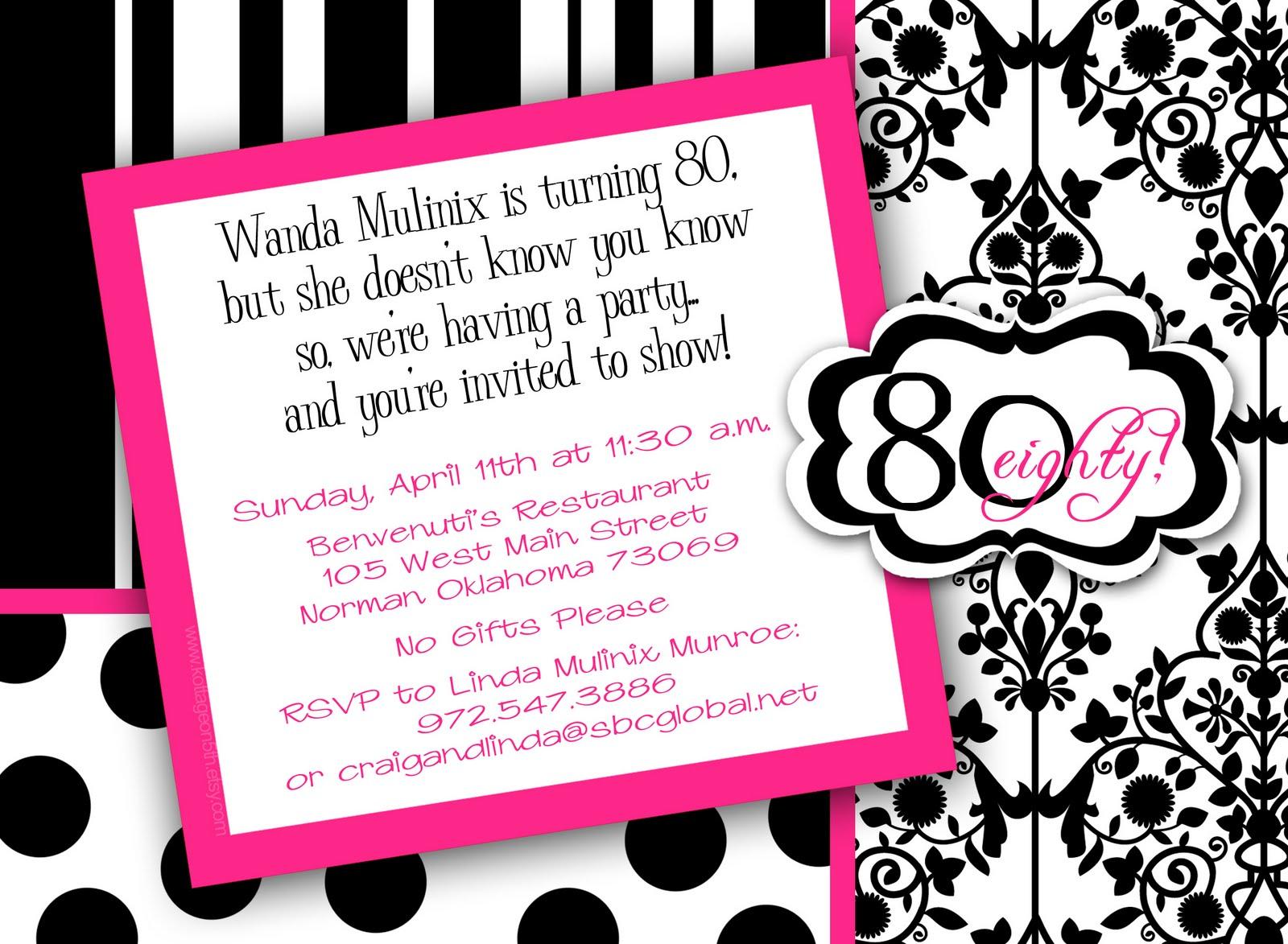 Invitation templates free birthday 80th 80th birthday invitations